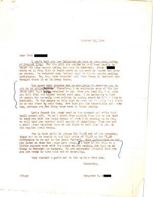 Lettre du bureau de la fondation alcoolique de New York à Dave B.