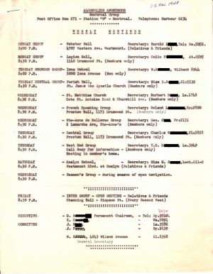 Réunions hebdomadaires en 1948